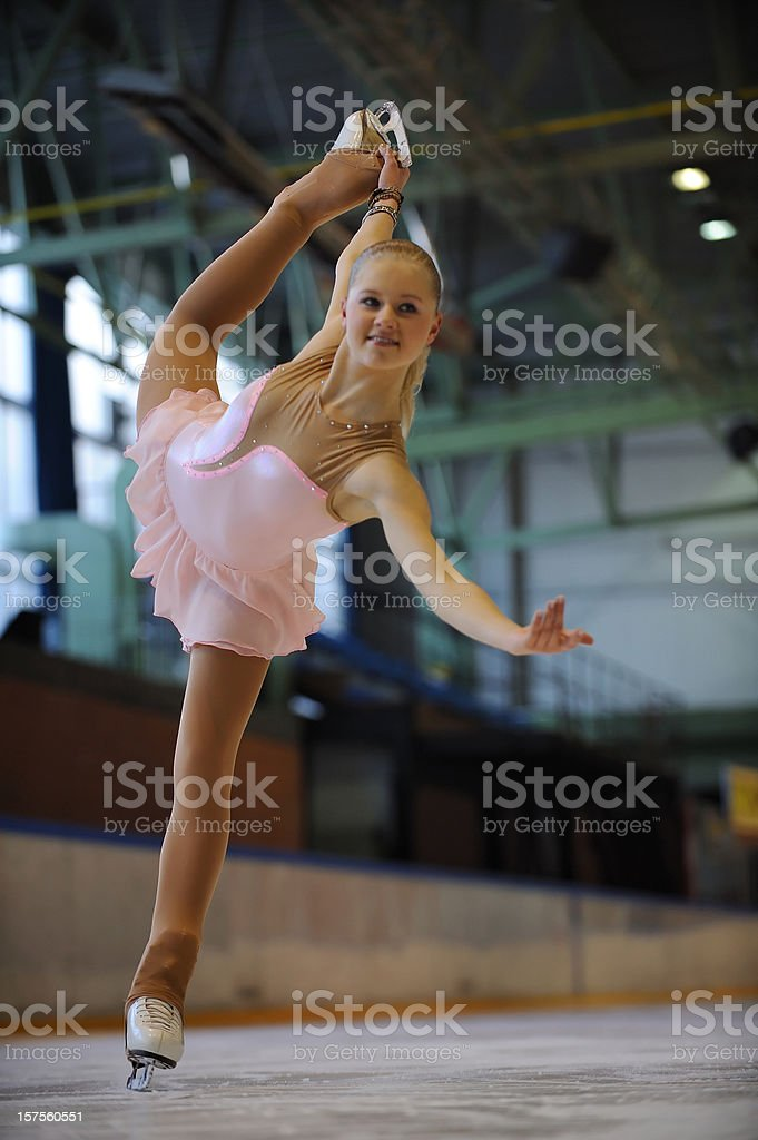 Young female skating stock photo