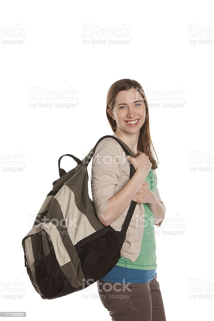 Young female student with backpack stock photo