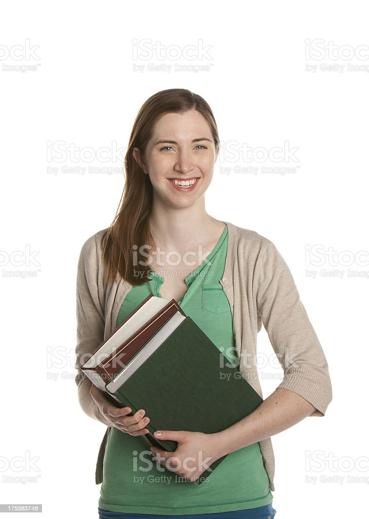 Young female student with books stock photo