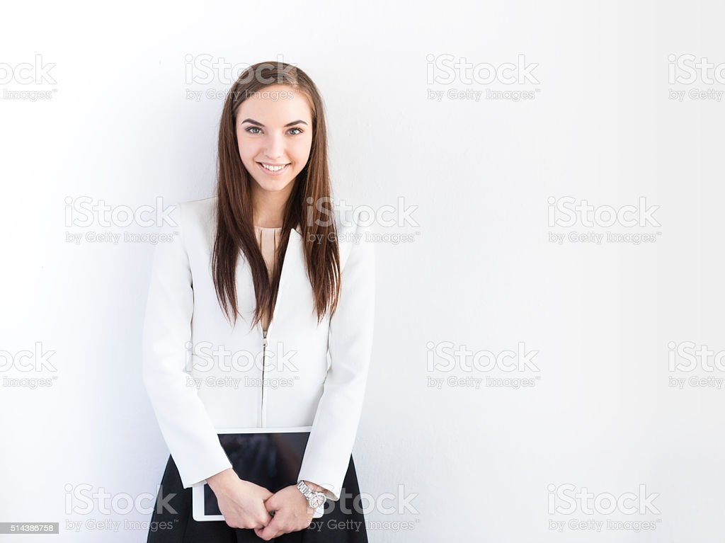 Young Female Student with Digital Tablet On White Backround stock photo