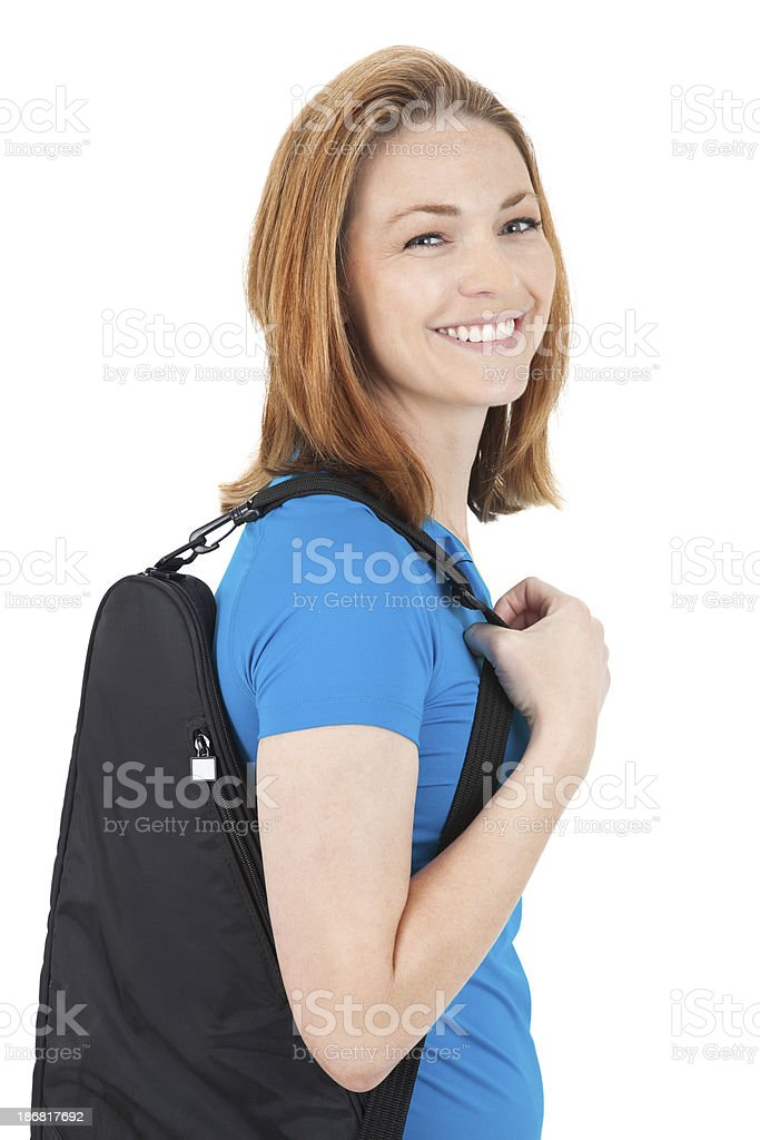 Young Female Tennis Player Holding Racket Bag royalty-free stock photo