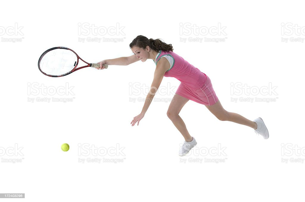 Young female tennis player in action royalty-free stock photo