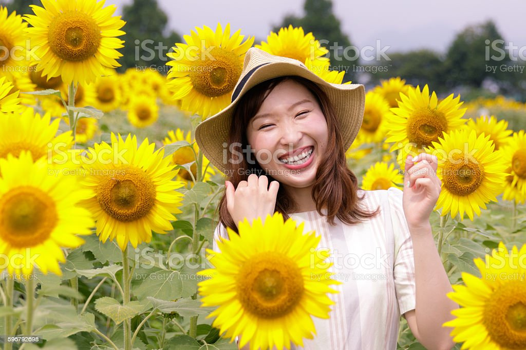 Young female toothy smiling in sunflower field stock photo