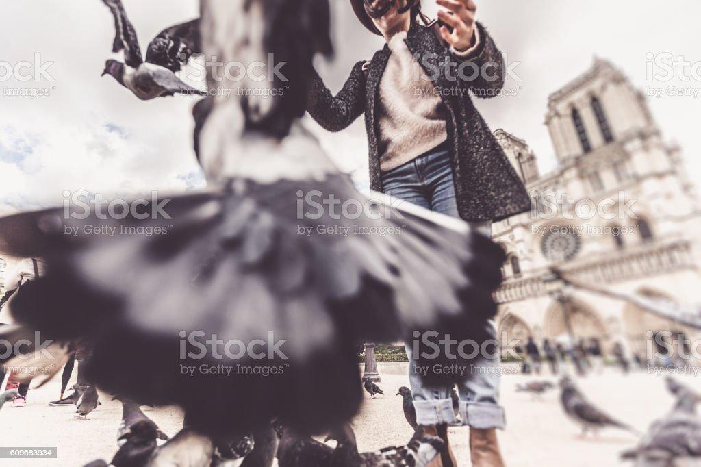 Young female tourist enjoying her trip to Paris stock photo