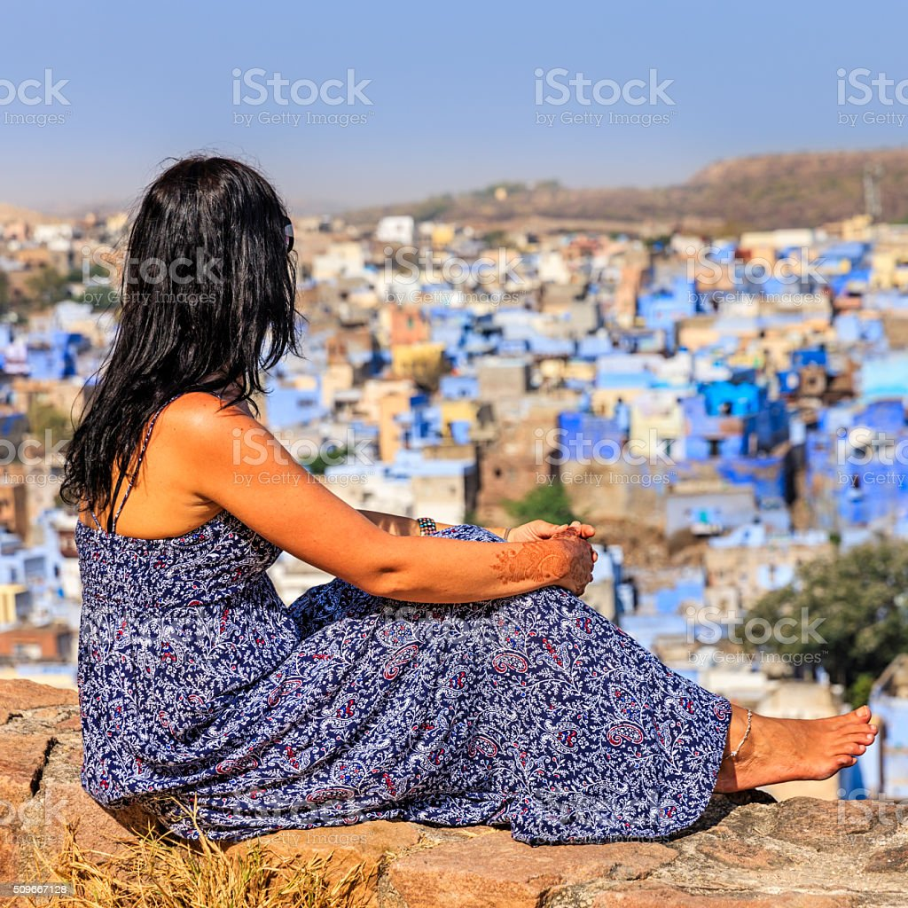 Young female tourist looking at the view, Jodhpur, India stock photo