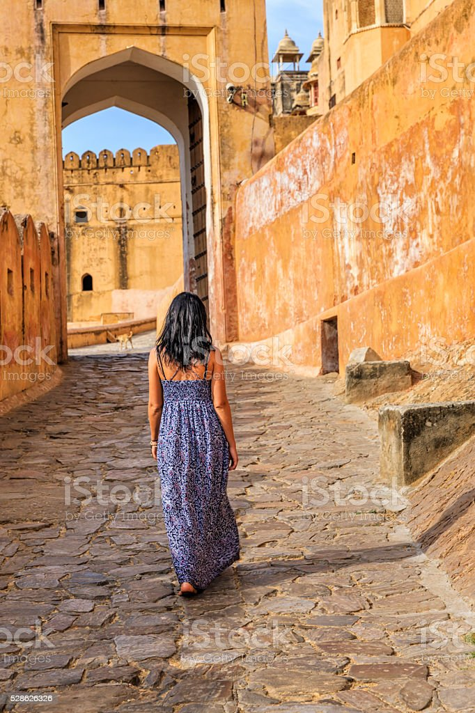 Young female tourist on the way to Amber Fort, India stock photo