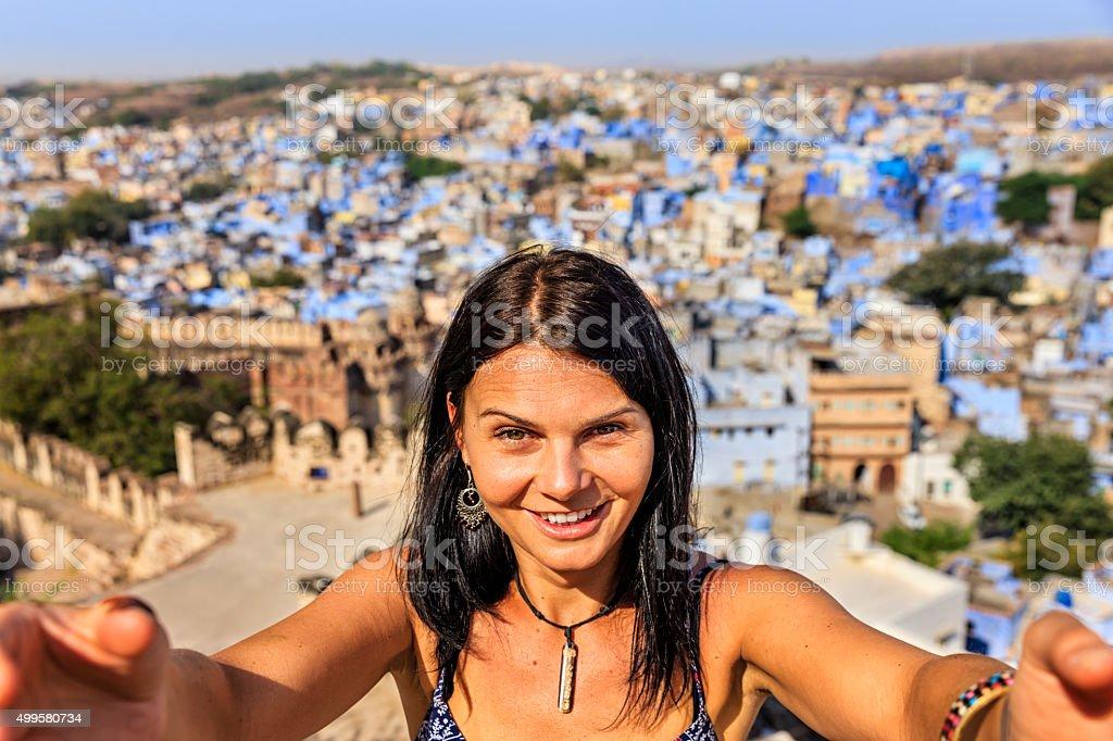 Young female tourist taking selfie using tablet, Jodhpur, India stock photo