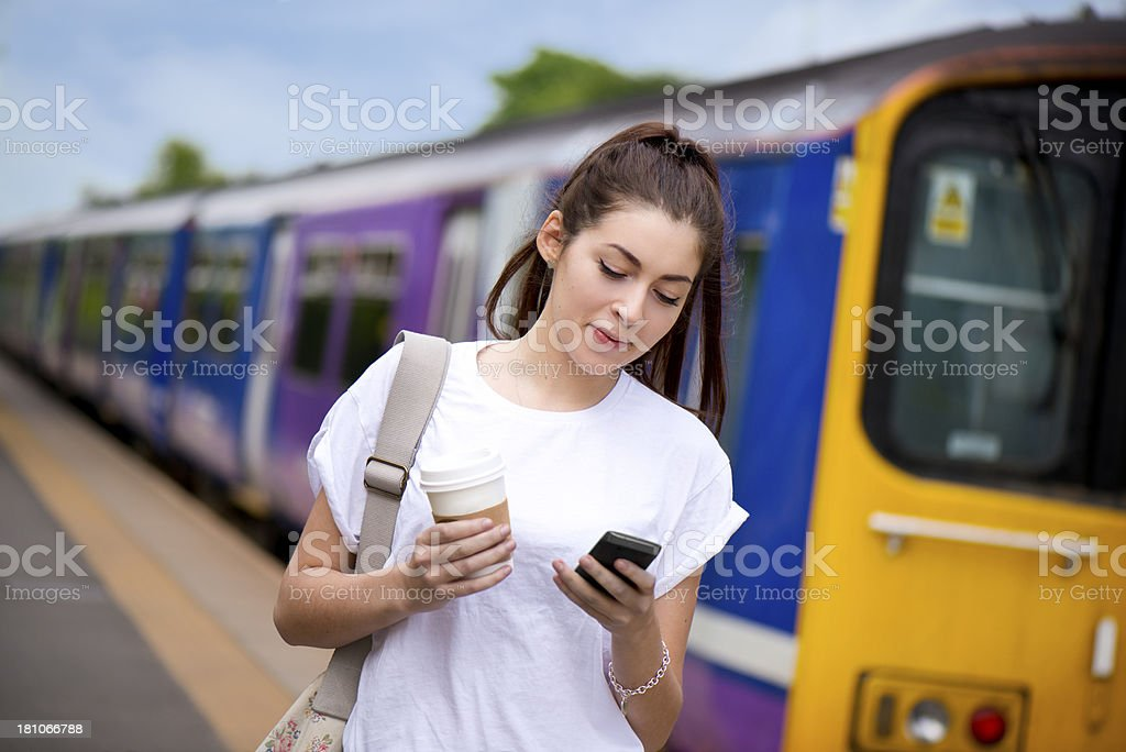 young female train user royalty-free stock photo