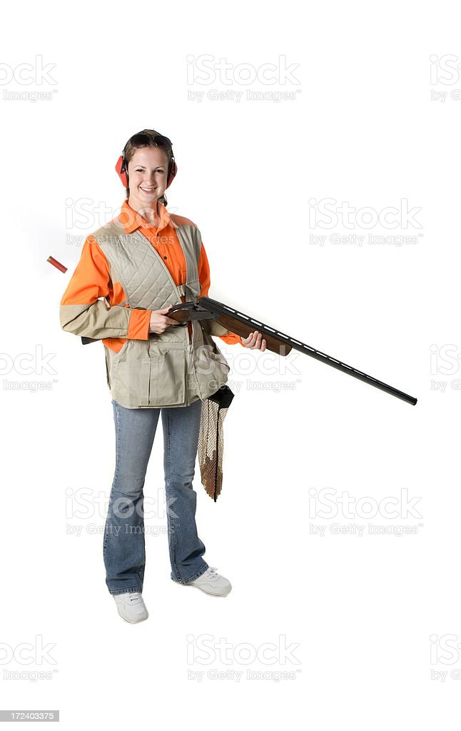 Young female trapshooter stock photo