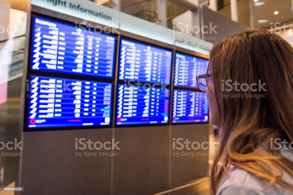 Young female traveler deciding where to go. stock photo