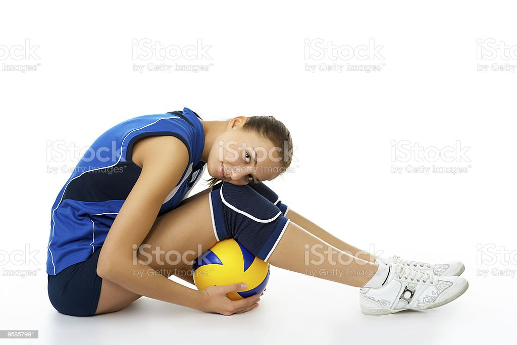 young female volleyball player stock photo