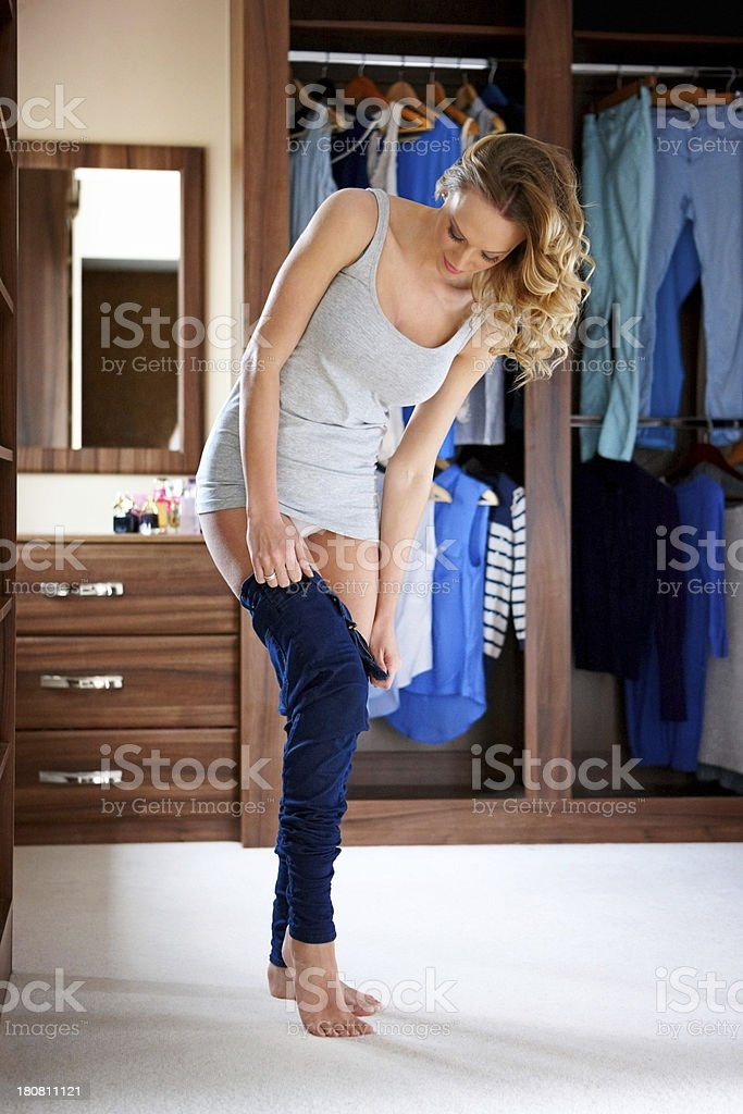 Young female wearing jeans royalty-free stock photo