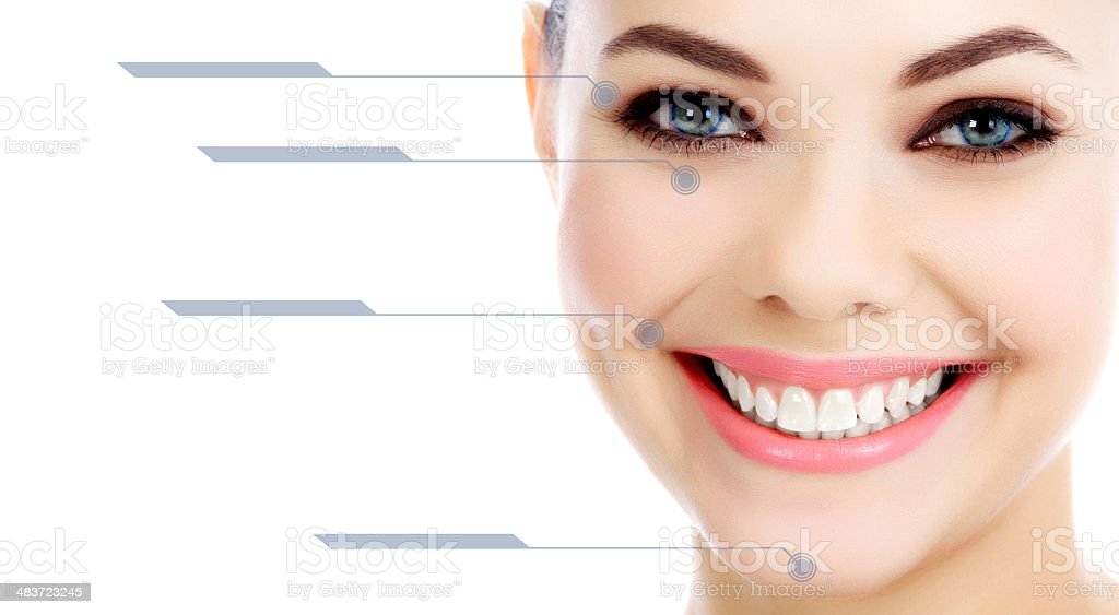 Young female with clean fresh skin, white background stock photo