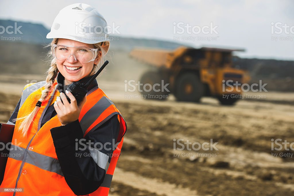 Young female with radio set stock photo