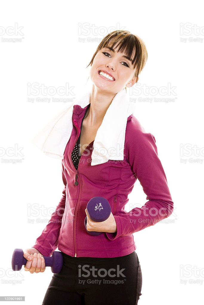 Young female working out with dumbbell stock photo