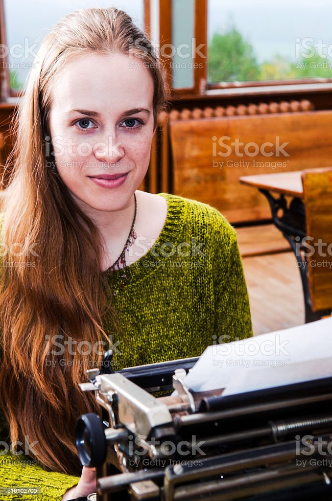 Young female writer stock photo