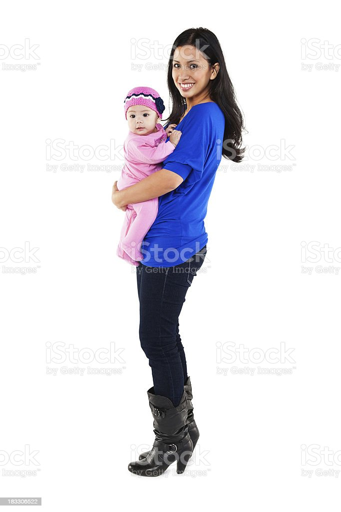 Young Filipino Woman With Her Baby, Isolated on White royalty-free stock photo