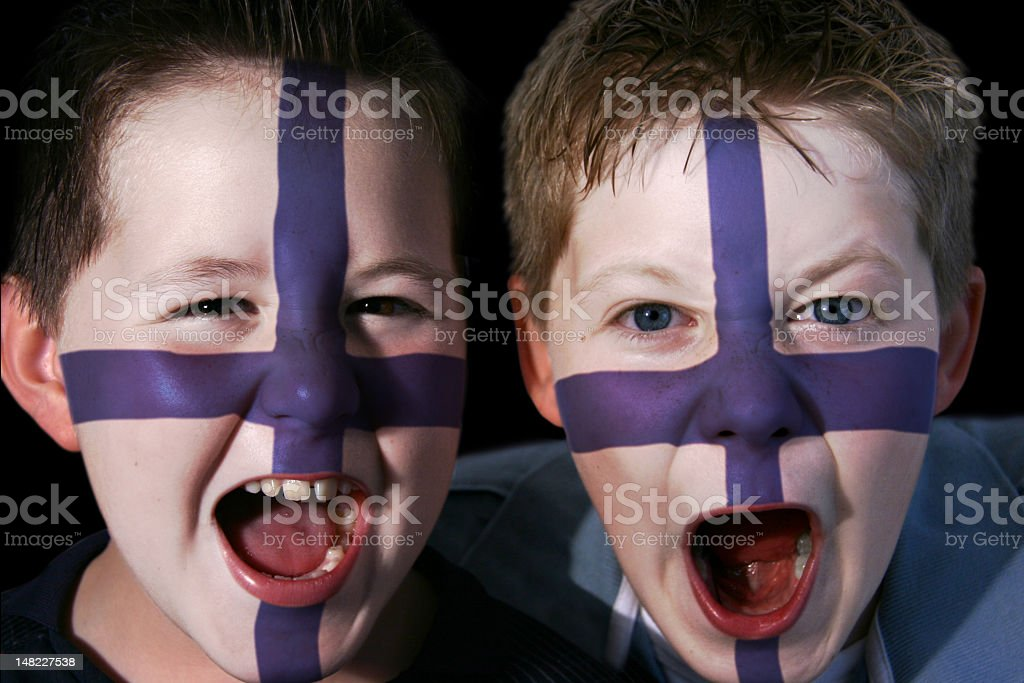 Young Finnish Football Supporters royalty-free stock photo