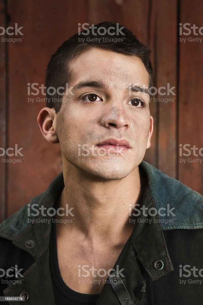 Young Firefighter with dirt in his face stock photo