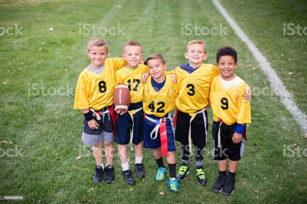 Young Flag Football Team Team Picture stock photo