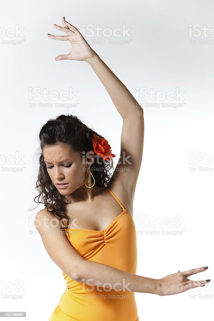 Joven flamenca bailando flamenco stock photo