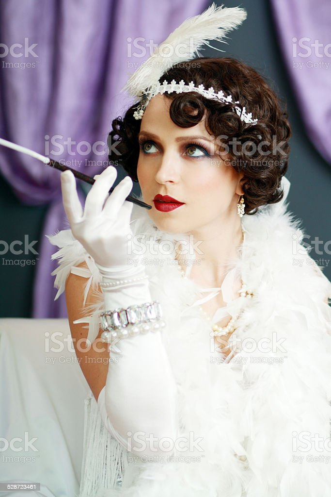 young flapper lady stock photo