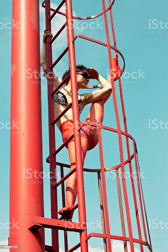 young flexible woman outdoor royalty-free stock photo