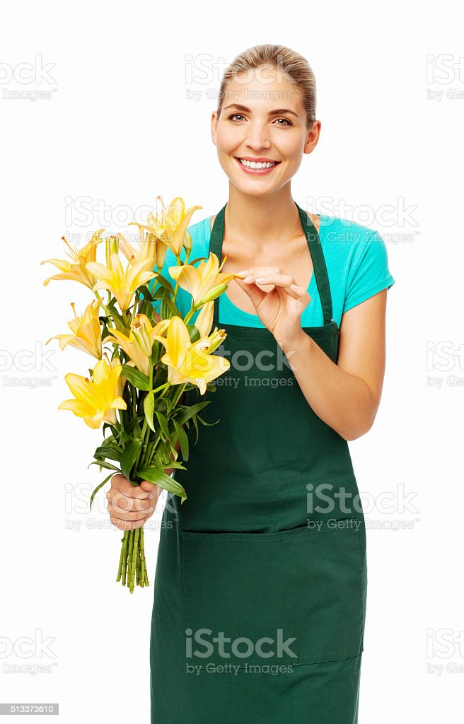 Young Florist Holding Flower Bouquet stock photo