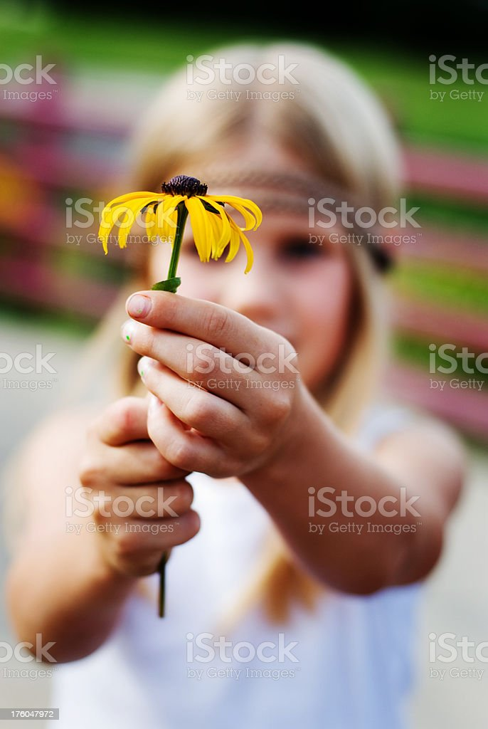 Young flower child stock photo