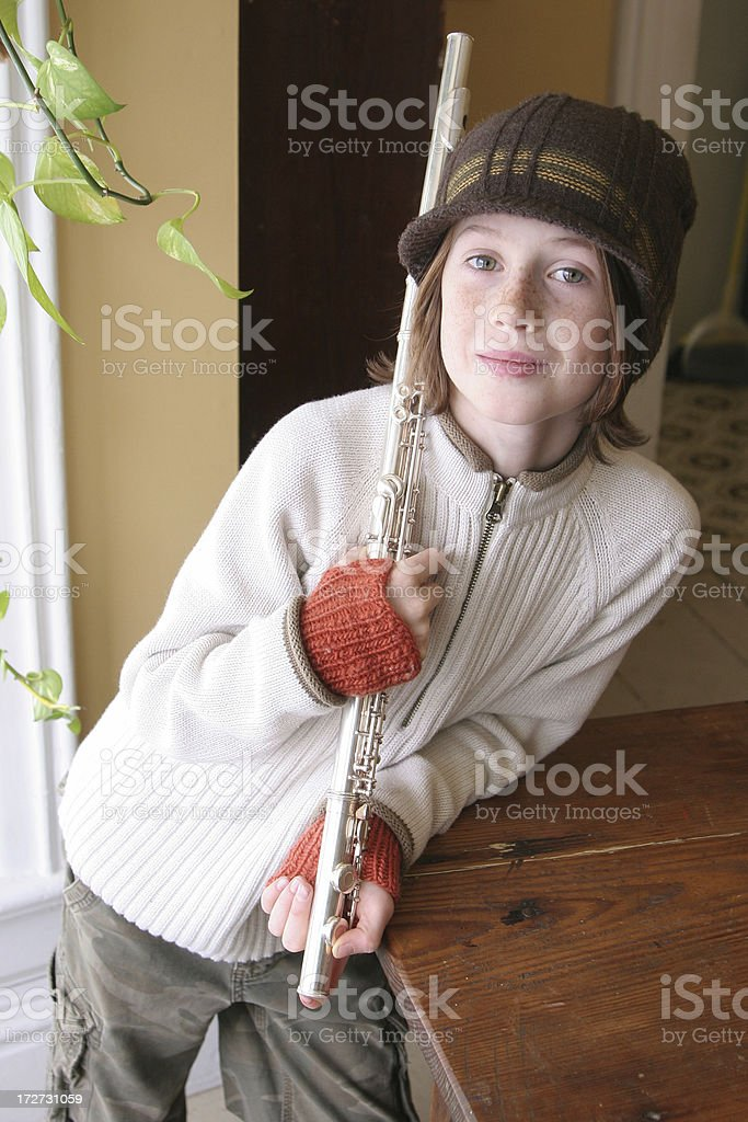 Young Flute Player royalty-free stock photo