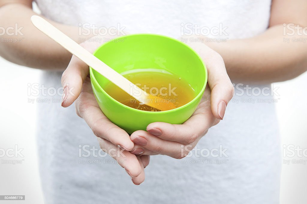 Young fresh attractive woman in towel preparing natural homemade stock photo