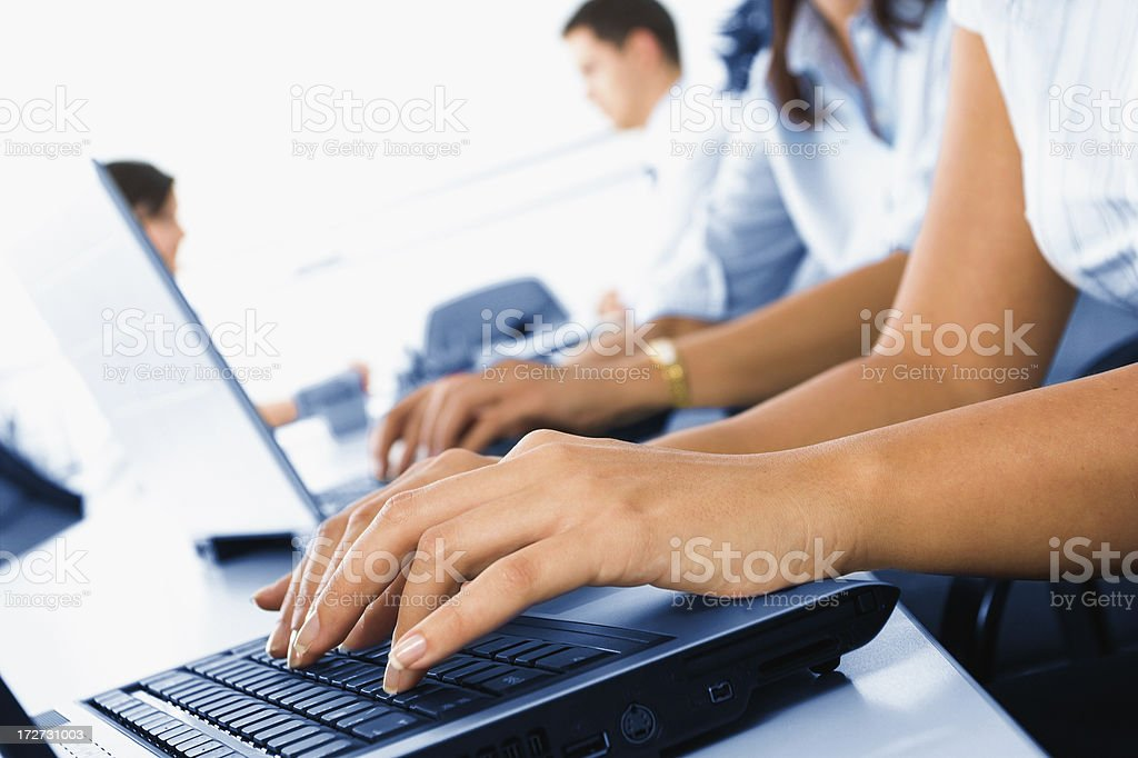 Young friendly female helpdesk operator stock photo