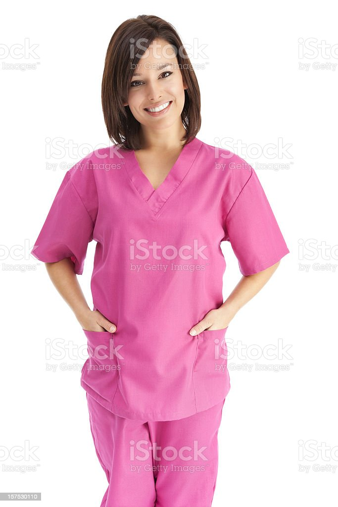 Young Friendly Nurse in Pink Scrubs stock photo