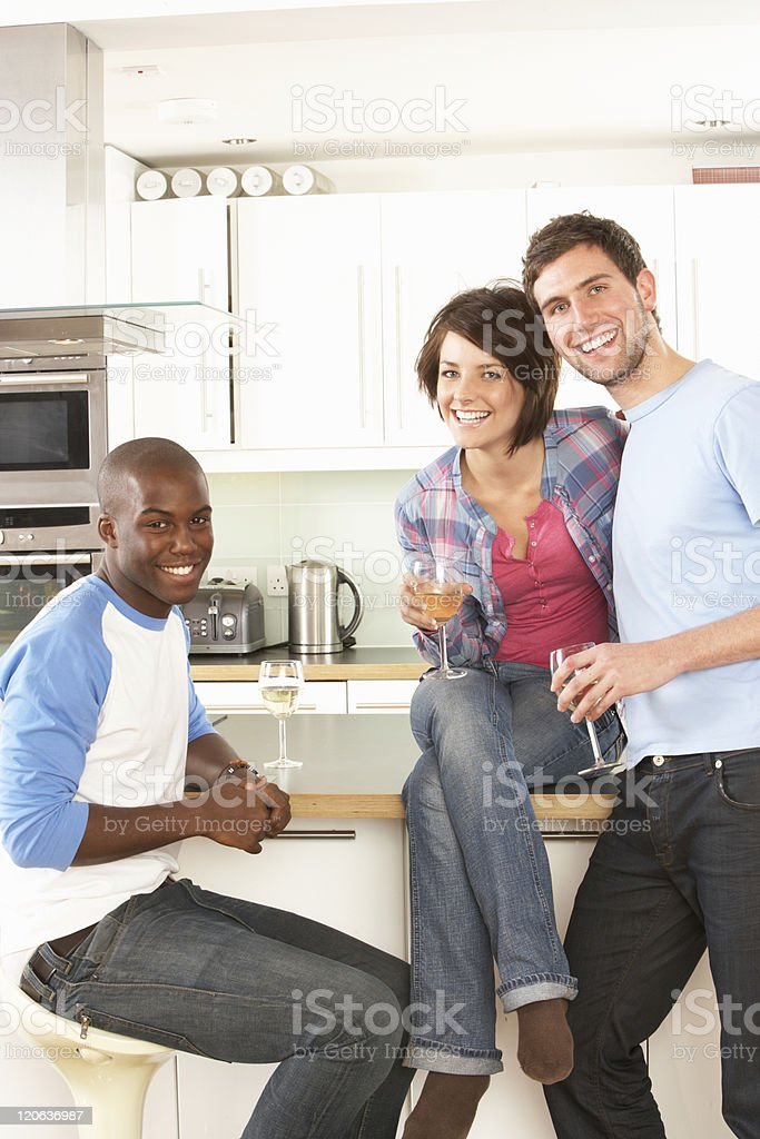 Young Friends Enjoying Glass Of Wine In Kitchen royalty-free stock photo