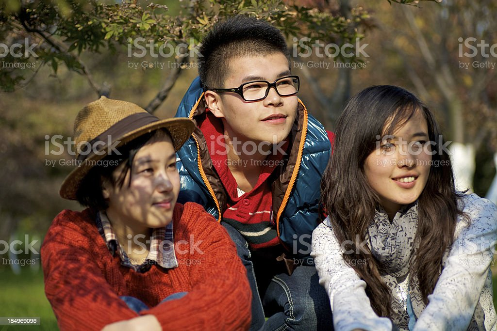 Young friends hanging out together royalty-free stock photo