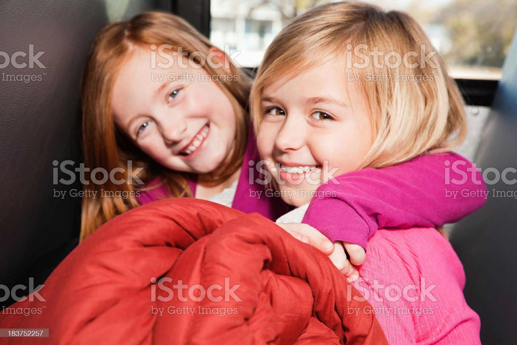 Young Friends on Bus With Sleeping Bag Going to Camp royalty-free stock photo
