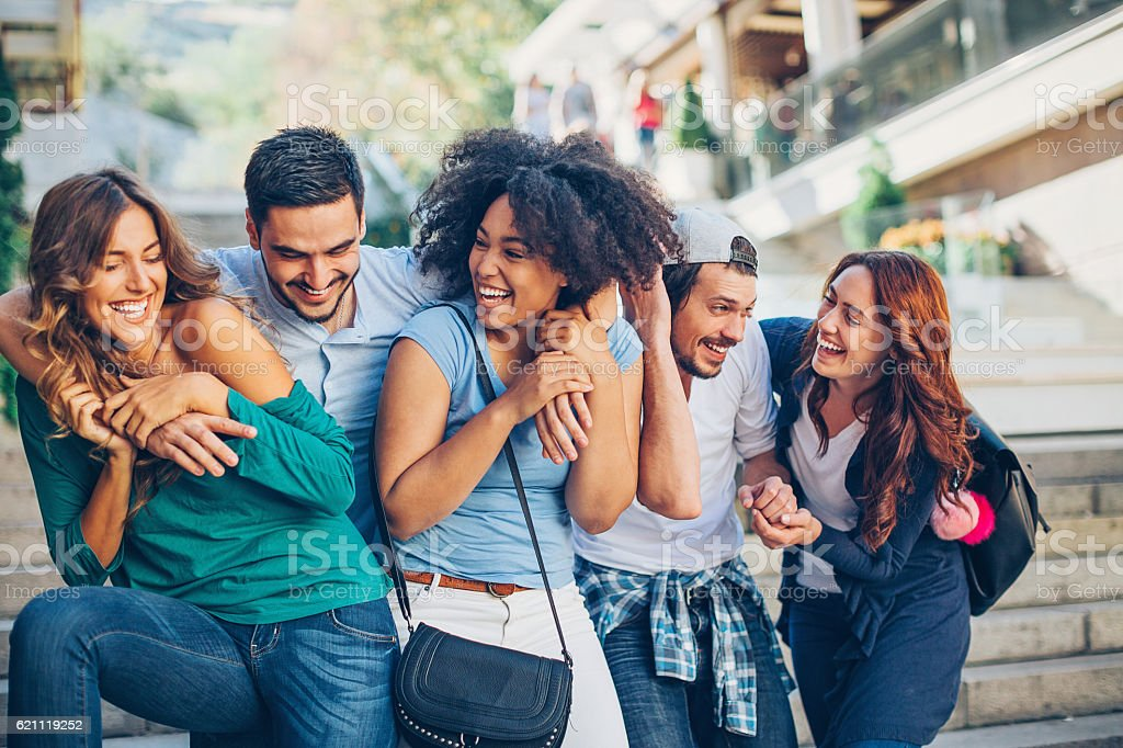 Young friends stock photo