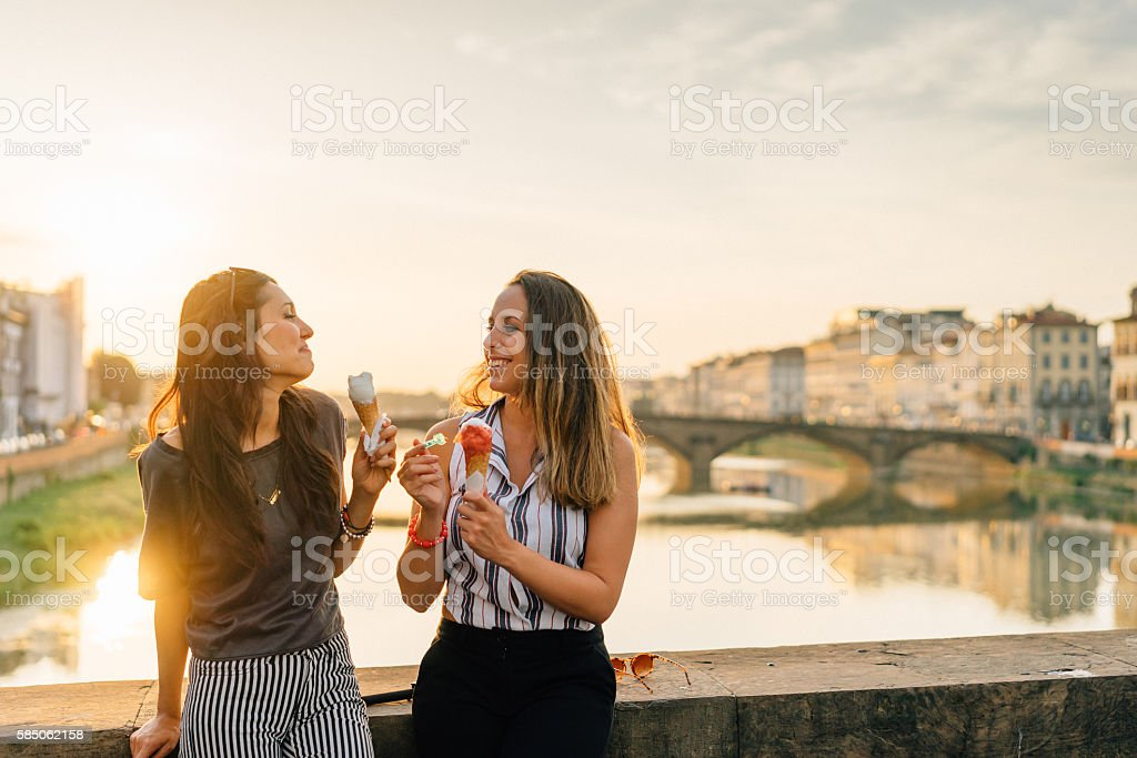 Young Friends Portrait While Eating Ice-Cream stock photo