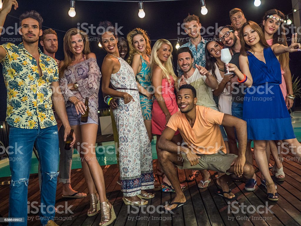 Young friends posing stock photo