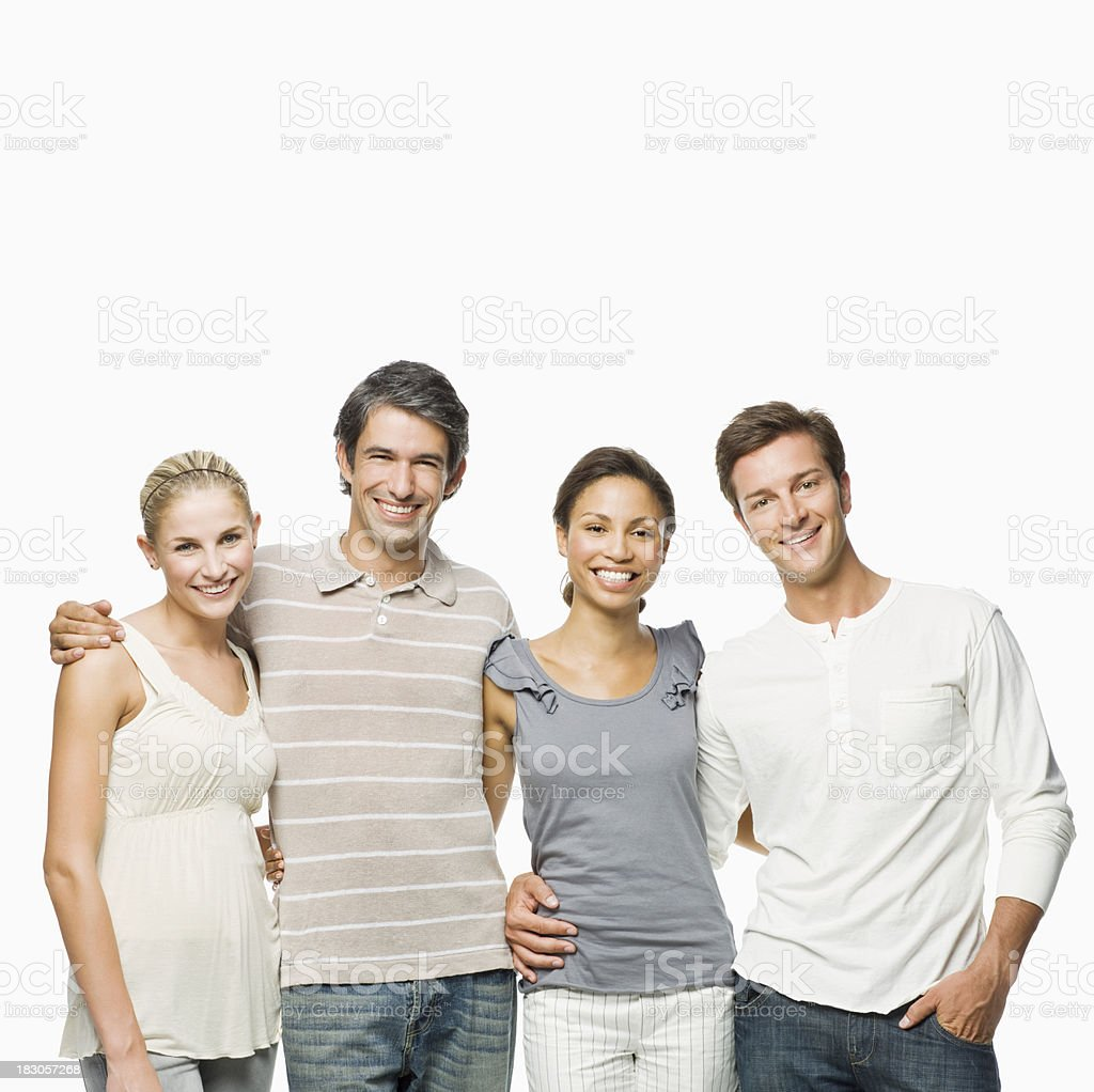 Young Friends Posing Together - Isolated royalty-free stock photo