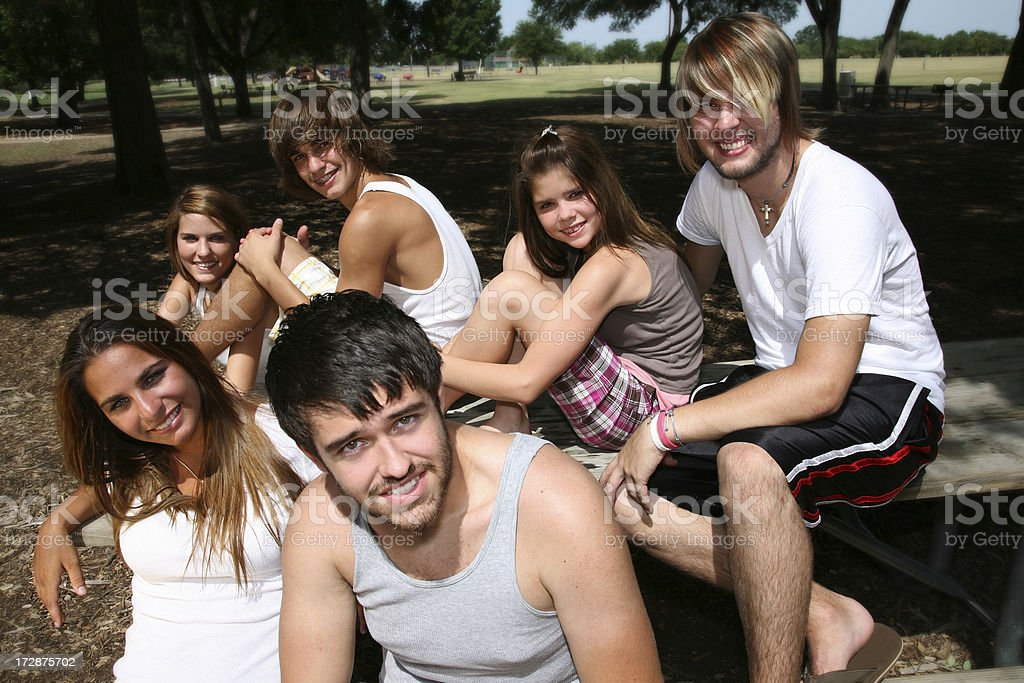 Young Friends Relax in Park. royalty-free stock photo