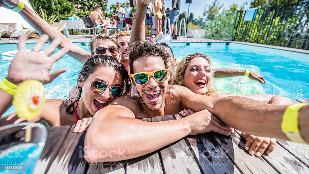 Young friends taking selfie stock photo