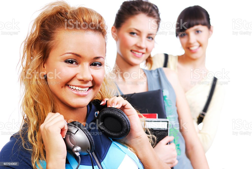 Young funny only female students stock photo