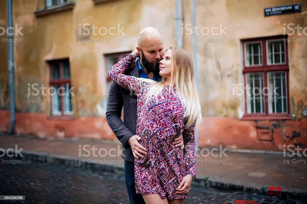 Young funny pretty fashion vintage hipster couple royalty-free stock photo