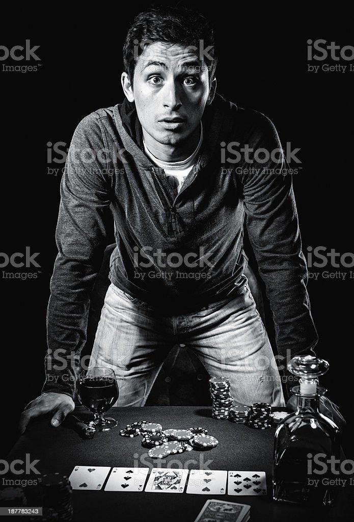 Young gambler indoors stock photo