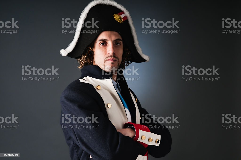 Young General Napoleon classic portrait. Arms crossed. stock photo