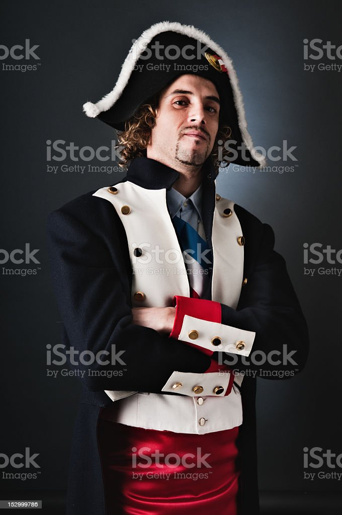 Young General Napoleon classic portrait. Arms crossed stock photo