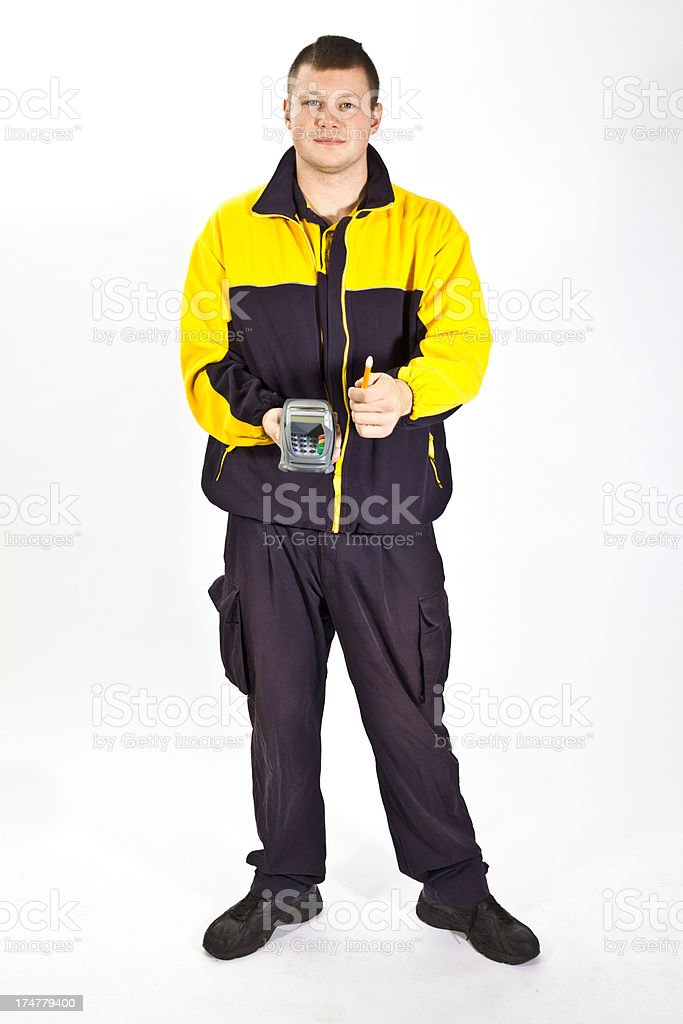 Young german postman in a uniform royalty-free stock photo