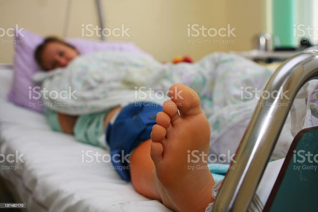 Young girl after orthopedic operation royalty-free stock photo