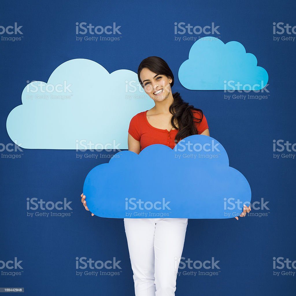 Young girl and cloud computing concept royalty-free stock photo
